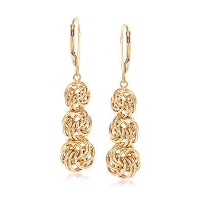 Graduated Rosetta-Knot Drop Earrings in 14kt Yellow Gold, , default