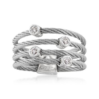 "ALOR ""Classique"" Gray Stainless Steel Cable Ring With Diamond Stations and 18kt White Gold. Size 7, , default"