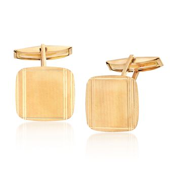 C. 1970 Vintage 18kt Yellow Gold Brushed and Polished Square Cuff Links, , default