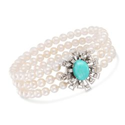 "C. 1970 Vintage Turquoise and 5mm Cultured Pearl Bracelet With Diamonds in 14kt White Gold. 7.25"", , default"