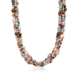 4-7.5mm Multicolored Cultured Pearl Torsade Necklace With Sterling Silver, , default