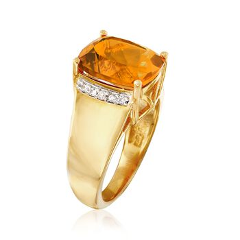 5.00 Carat Citrine and .10 ct. t.w. White Zircon Ring in 18kt Gold Over Sterling, , default