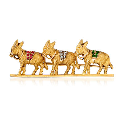 C. 1940 Vintage 18kt Yellow Gold Three-Donkey Pin with Diamond, Emerald and Ruby Accents