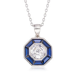Synthetic Blue Spinel and 1.50 Carat CZ Pendant Necklace in Sterling Silver, , default