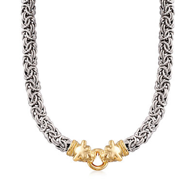 Italian Two-Tone Sterling Silver Double Panther Head Byzantine Necklace, , default