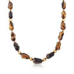 "C. 1970 Vintage Free-Form Tiger's Eye Bead Necklace With 14kt Yellow Gold. 35"", , default"