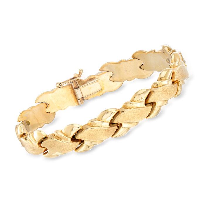 "C. 1980 Vintage 14kt Yellow Gold Bracelet. 7"", , default"