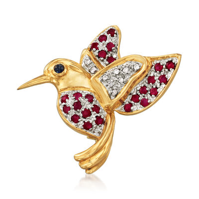 C. 1980 Vintage .85 ct. t.w. Ruby Bird Pin with Diamond and Sapphire Accents in 14kt Yellow Gold
