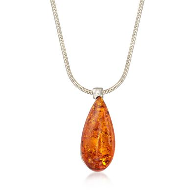 Orange Amber Teardrop Pendant Necklace in Sterling Silver, , default