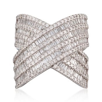 3.30 ct. t.w. Diamond 'X' Ring in 18kt White Gold. Size 6.5, , default