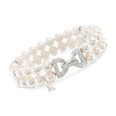 "Mikimoto ""Japan"" 6.5-7mm A+ Akoya Pearl and .47 ct. t.w. Diamond Clasp Bracelet in 18kt White Gold"