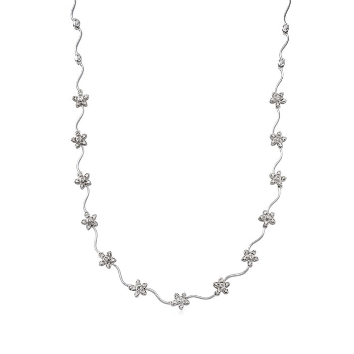 C. 1990 Vintage 1.00 ct. t.w. Diamond Floral Station Necklace in 14kt White Gold