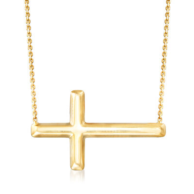 14kt Yellow Gold Sideways Cross Necklace, , default
