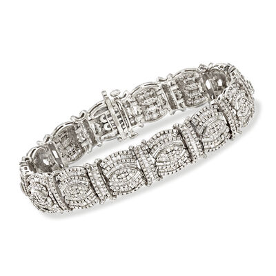 5.00 ct. t.w. Round and Baguette Diamond Bracelet in Sterling Silver