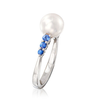 """Mikimoto """"Ocean"""" 8mm A+ Akoya Pearl and .40 ct. t.w. Sapphire Ring in 18kt White Gold. Size 6.5"""