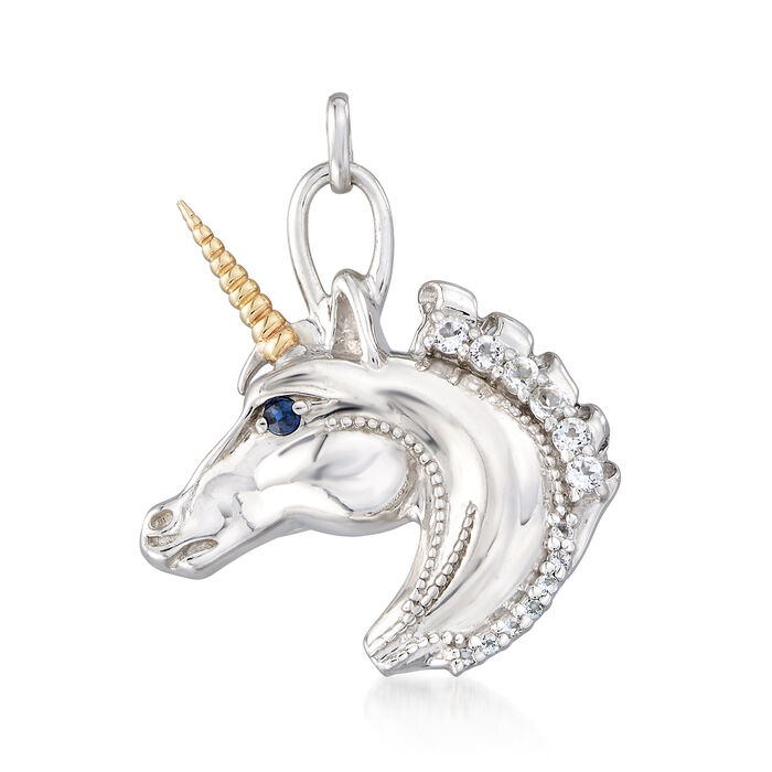 .25 ct. t.w. White Topaz Unicorn Pendant Necklace with Sapphire Accents in 14kt Gold and Sterling