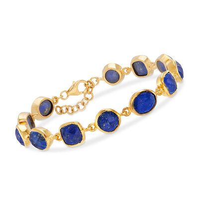 Lapis Bracelet in 18kt Gold Over Sterling, , default