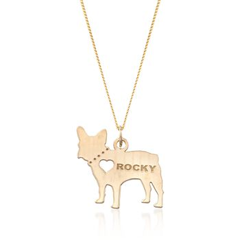 "18kt Yellow Gold Over Sterling Silver French Bulldog Name Pendant Necklace. 18"", , default"