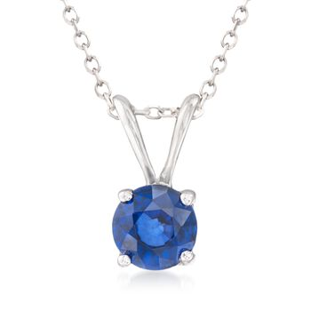 ".70 Carat Sapphire Solitaire Necklace in 14kt White Gold. 16"", , default"