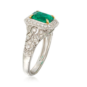 C. 1990 Vintage 2.00 Carat Octagon Colombian Emerald and .75 ct. t.w. Diamond Ring in 18kt White Gold. Size 7.25, , default