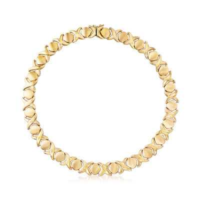 C. 1980 Vintage X and O Necklace in 14kt Yellow Gold, , default