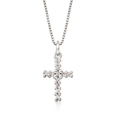 Child's 14kt White Gold Cross Pendant Necklace With Diamond Accents, , default