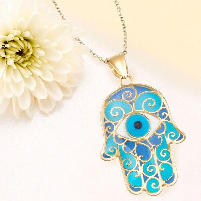 Blue Enamel Hamsa Hand Pendant Necklace in 14kt Yellow Gold