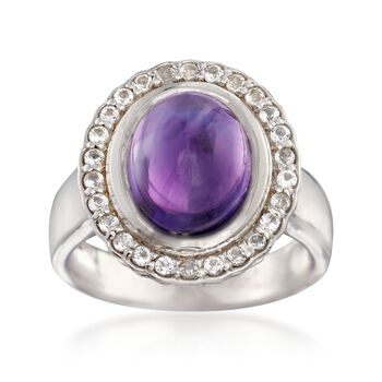 4.00 Carat Amethyst and .50 ct. t.w. White Topaz Ring in Sterling Silver, , default