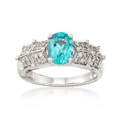 C. 2000 Vintage 1.35 Carat Apatite and .35 ct. t.w. Diamond Ring in 14kt White Gold, , default