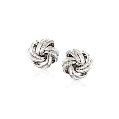 Italian Sterling Silver Love Knot Earrings, , default