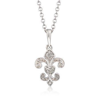 Sterling Silver Fleur-De-Lis Pendant Necklace with Diamond Accents, , default