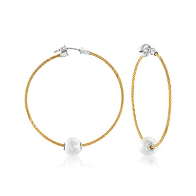 "ALOR ""Classique"" 8mm Cultured Pearl and Yellow Stainless Steel Cable Hoop Earrings with 18kt White Gold, , default"