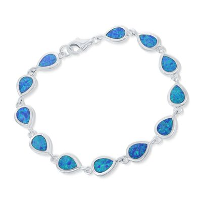 Blue Synthetic Opal Teardrop Tennis Bracelet in Sterling Silver, , default
