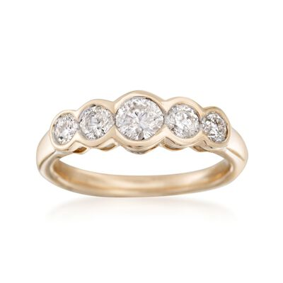1.00 ct. t.w. Bezel-Set Diamond Five-Stone Ring in 14kt Yellow Gold, , default