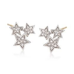 .14 ct. t.w. Diamond Star Cluster Earrings in 14kt Yellow Gold, , default