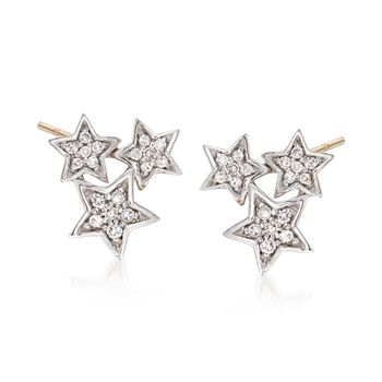 .14 ct. t.w. Diamond Star Cluster Earrings in 14kt Yellow Gold, , default