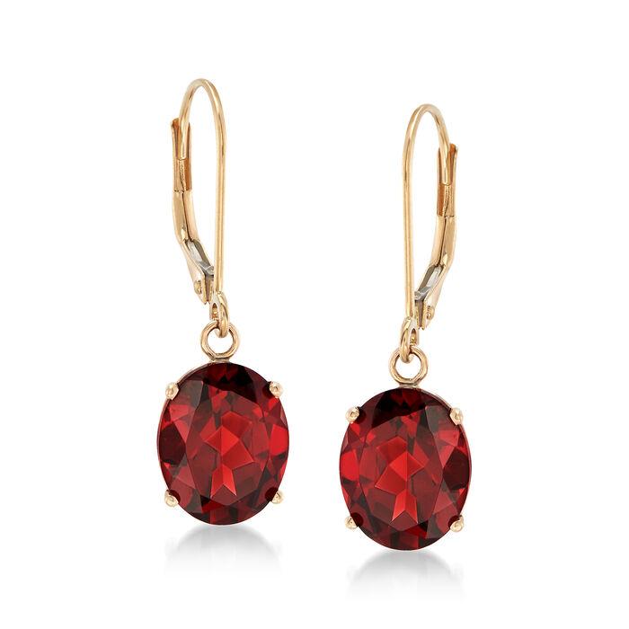 5.50 ct. t.w. Garnet Drop Earrings in 14kt Yellow Gold