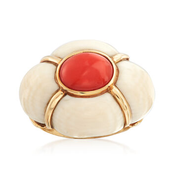 C. 1950 Vintage Pink Coral and Bone Ring in 14kt Yellow Gold. Size 6, , default