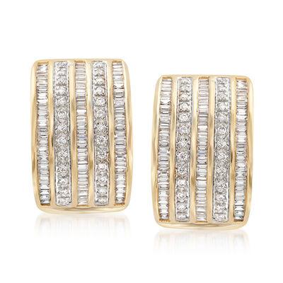 1.22 ct. t.w. Diamond Multi-Row Drop Earrings in 14kt Yellow Gold, , default
