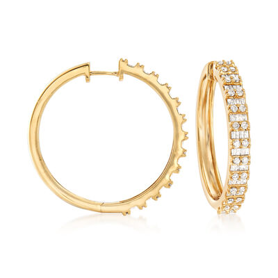 2.00 ct. t.w. Round and Baguette Diamond Hoop Earrings in 18kt Gold Over Sterling, , default