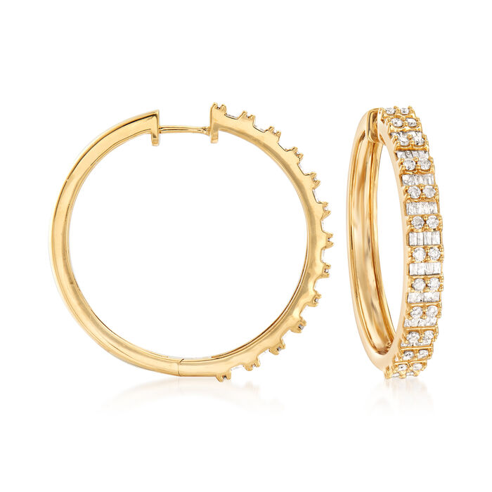 """2.00 ct. t.w. Round and Baguette Diamond Hoop Earrings in 18kt Gold Over Sterling. 1 1/4"""""""