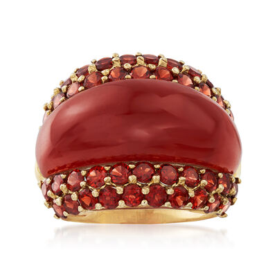 C. 1990 Vintage Carnelian and 3.40 ct. t.w. Garnet Ring in 14kt Yellow Gold, , default