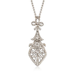 C. 1990 Vintage 1.20 ct. t.w. Diamond Drop Necklace in 18kt White Gold , , default