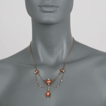 """C. 1880 Vintage Pink Coral and Cultured Seed Pearl Necklace in 18kt Yellow Gold. 18"""", , default"""