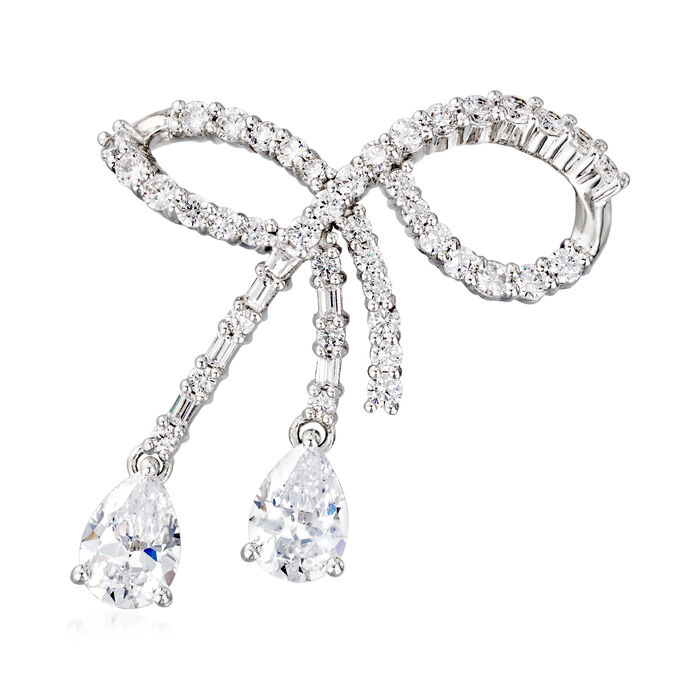 5.93 ct. t.w. CZ Bow Pin in Sterling Silver