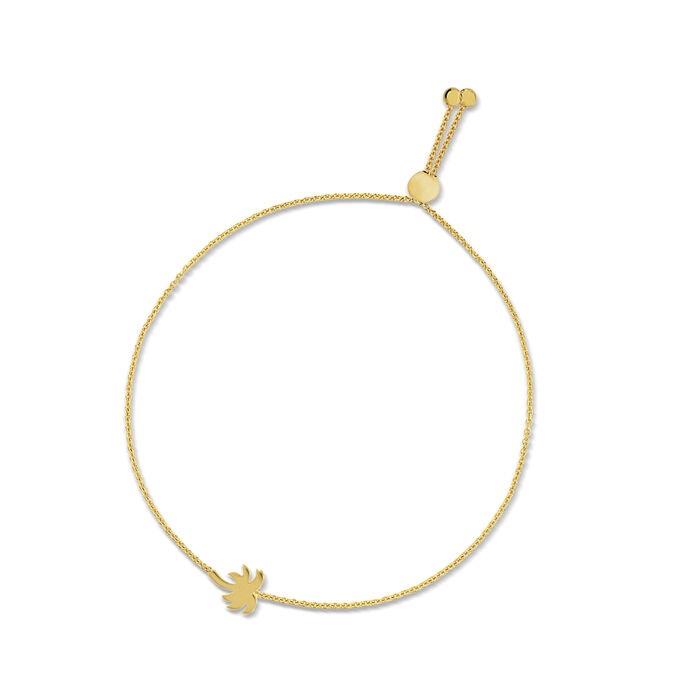 14kt Yellow Gold Palm Tree Bolo Bracelet
