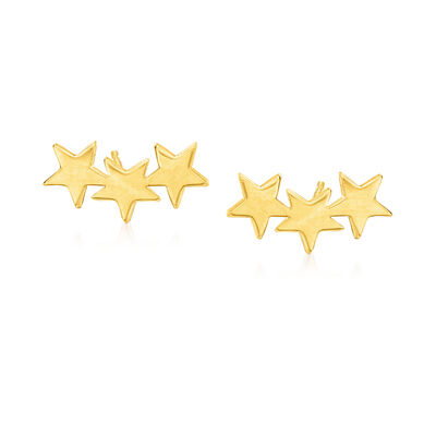 14kt Yellow Gold Star Ear Climbers