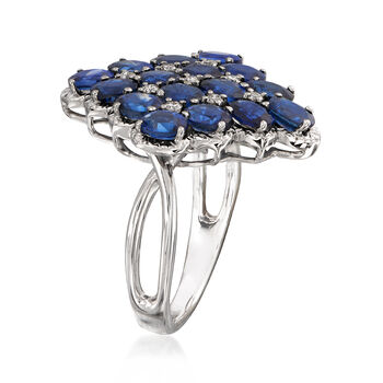 C. 1980 Vintage 5.40 ct. t.w. Sapphire and .20 ct. t.w. Diamond Cluster Ring in 18kt White Gold. Size 8, , default