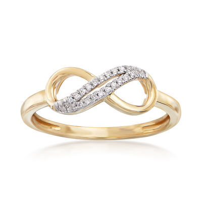 14kt Yellow Gold Infinity Symbol Ring with Diamond Accents