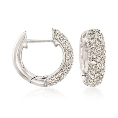 1.10 ct. t.w. Diamond Huggie Hoop Earrings in 14kt White Gold, , default